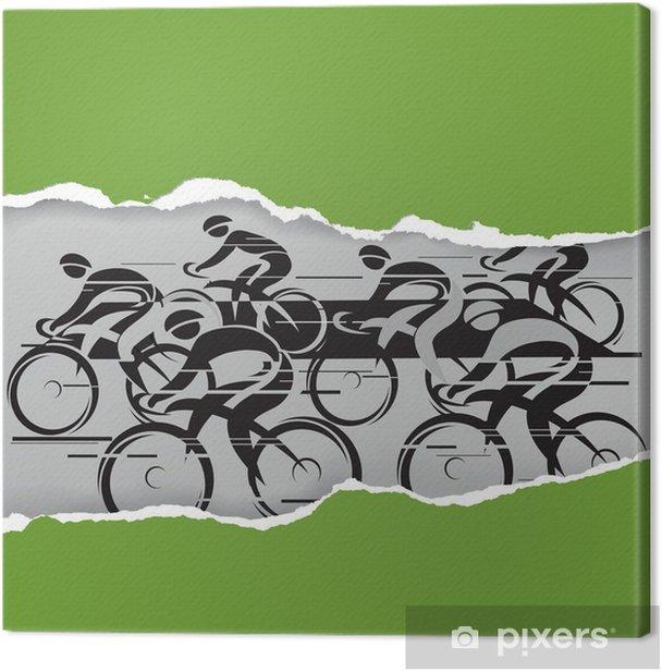 Cuadro en Lienzo Marcha ciclista en el marco del grunge - Deportes individuales