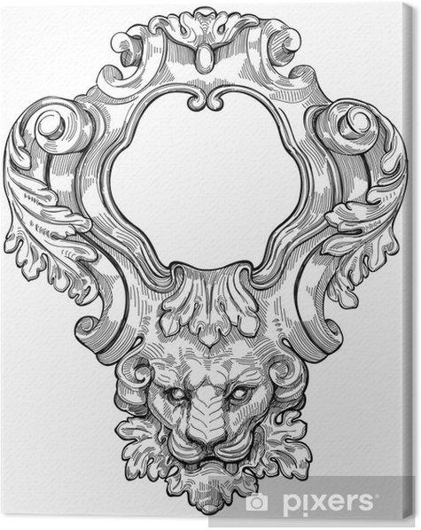 Cuadro en Lienzo Marco de la vendimia y cabeza de león. Ilustración vectorial - Artes y creación
