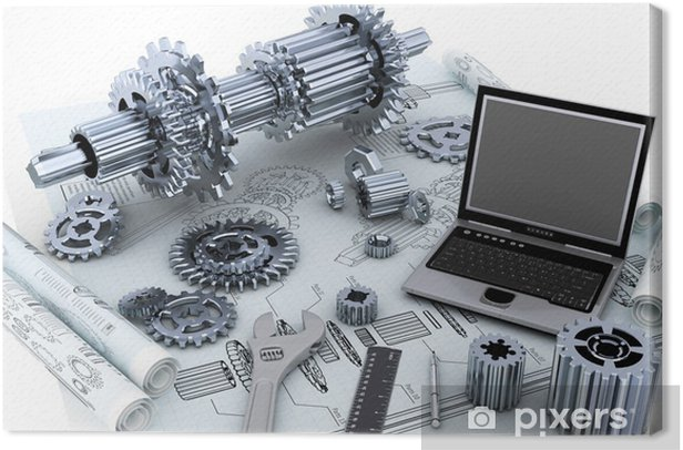Cuadro en Lienzo Mecánica concepto de tecnología de ingeniería - Maquinaria