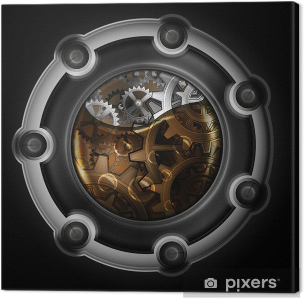 Cuadro en Lienzo Mecanismo abstracto Steampunk. Engranajes en aceite de máquina. - Steampunk