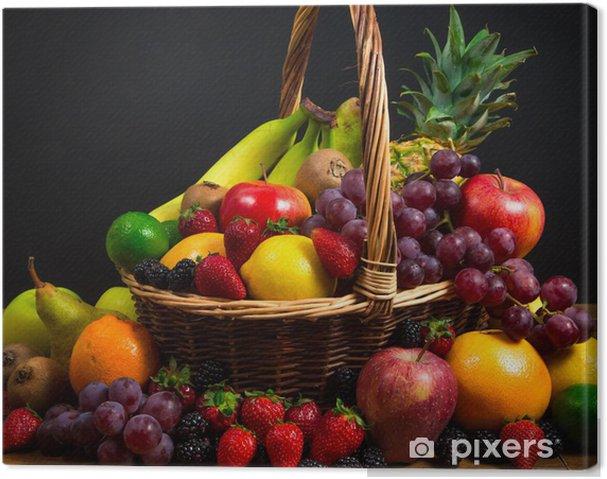 Cuadro en Lienzo Mezcla de frutas frescas en el bascket mimbre - Temas