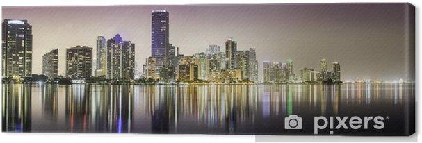 Cuadro en Lienzo Miami downtown panorama de la noche - América