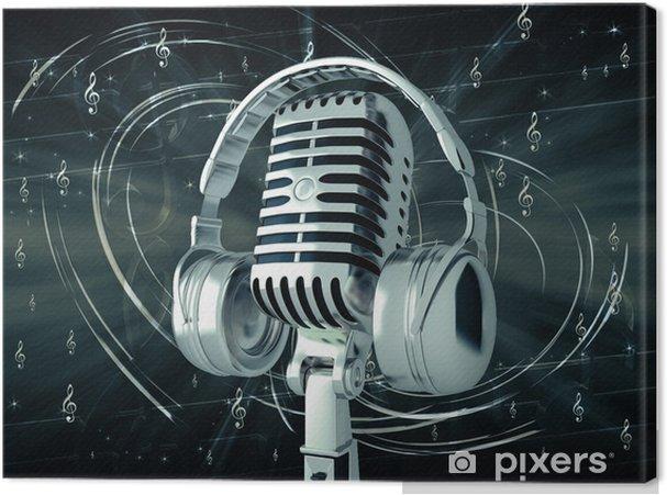 Cuadro en Lienzo Micrófono con auriculares en el fondo musical - Música