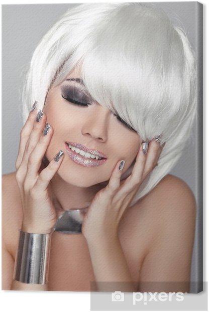 Cuadro en Lienzo Moda Retrato de la belleza de la mujer. Blanco Cabello corto. Happy Girl Clos - Belleza y cuidado personal
