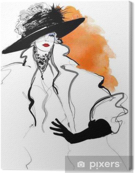 Cuadro en Lienzo Modelo de moda mujer con un sombrero negro • Pixers ... cefd76bc359