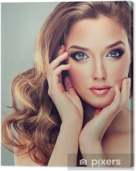 Cuadro en Lienzo Modelo hermoso con el pelo rizado - Mujeres