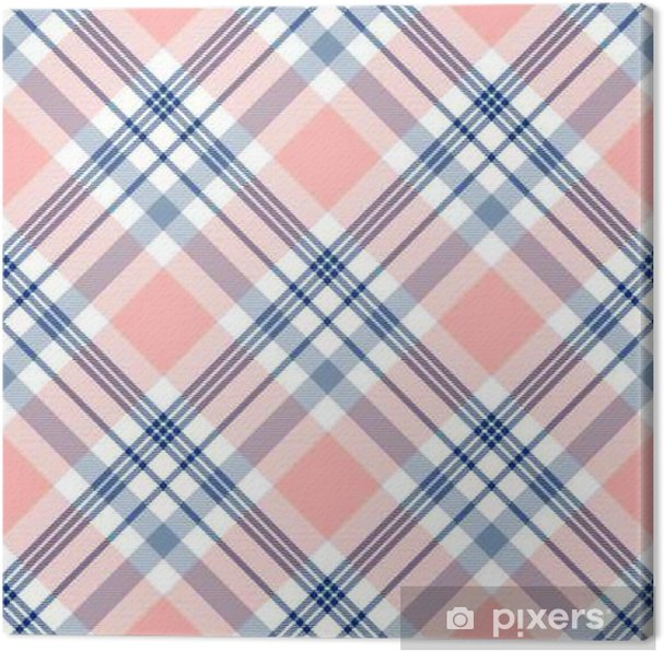 48b62def5 Cuadro en Lienzo Modelo inconsútil de la tela escocesa de tartán. Impresión  Checkered de la textura de la tela en azul marino oscuro, blanco y ...