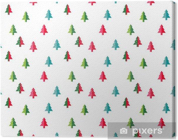 Cuadro en Lienzo Modelo inconsútil del árbol de navidad de fondo de la tarjeta de felicitación de año nuevo / papel pintado. Ilustración del vector. símbolo de abeto. - Recursos gráficos