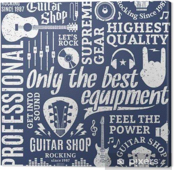 Cuadro en Lienzo Modelo inconsútil del vector de estilo retro tipográfica tienda de guitarras - Hobbies y entretenimiento