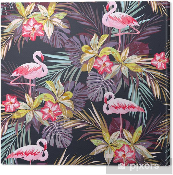 Cuadro en Lienzo Modelo inconsútil del verano tropical con flamenco aves y plantas exóticas -