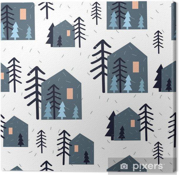 Cuadro en Lienzo Modelo inconsútil lindo con casas, árboles de navidad y la nieve sobre fondo blanco. Del papel de embalaje. Dibujado a mano ilustración vectorial. Los niños textura. - Recursos gráficos