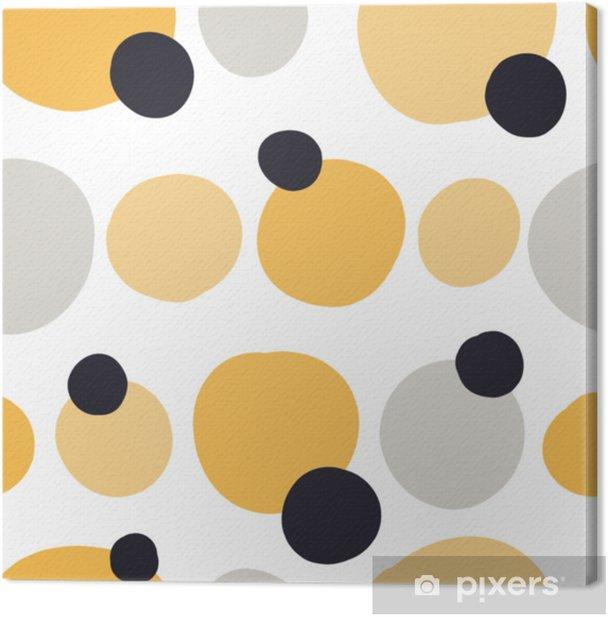 Cuadro en Lienzo Modelo inconsútil moderno con formas abstractas de colores: círculos, óvalos. Doodle mano dibujado textura. Fondo onfetti creativo de moda para la impresión de textiles modernos y originales, papel de regalo - Recursos gráficos