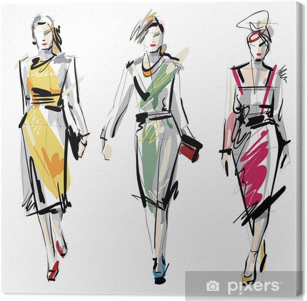 Cuadro en Lienzo Modelos de moda. Sketch. - Moda