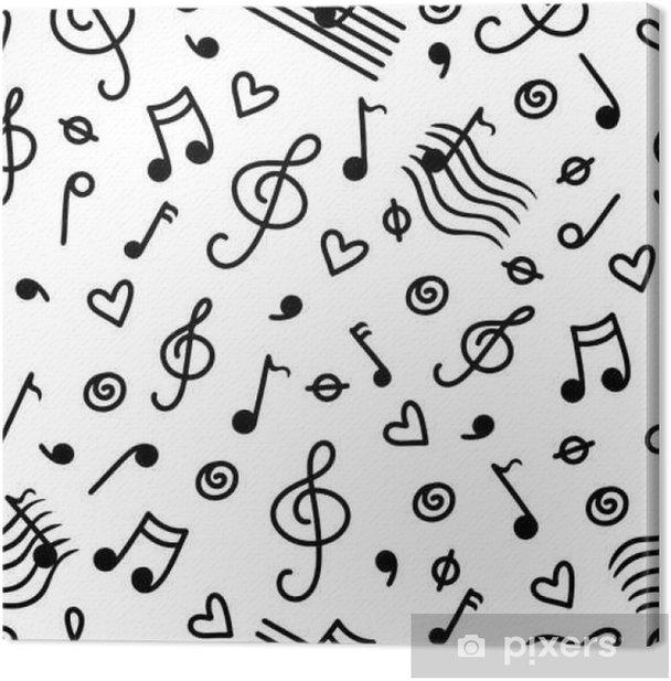 Cuadro en Lienzo Monocromo Music patrón transparente - Hobbies y entretenimiento