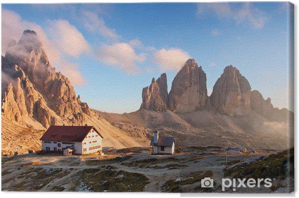 Cuadro en Lienzo Montaña Dolomitas en Italia al atardecer - Tre Cime di Lavaredo - Europa