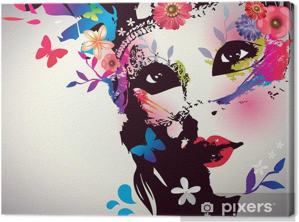 Cuadro en Lienzo Muchacha con la máscara / ilustración vectorial - Moda