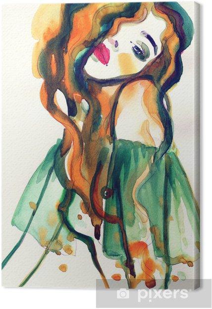 Cuadro en Lienzo Mujer .abstract retrato de la acuarela - Artes y creación