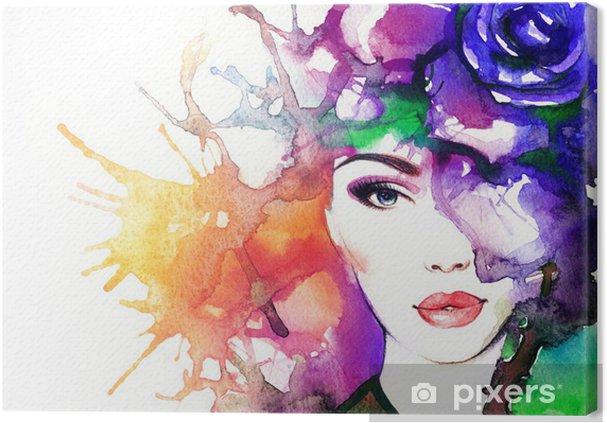 Cuadro en Lienzo Mujer acuarela face.abstract fondo .fashion - Artes y  creación 7bf78ad13d6