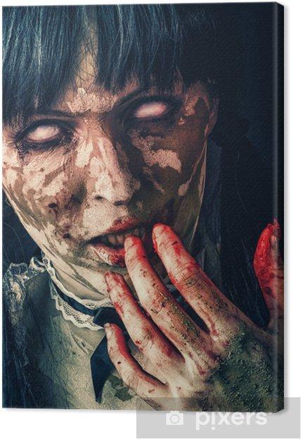 Cuadro en Lienzo Mujer asustadiza del zombi con los ojos ensangrentados - Temas