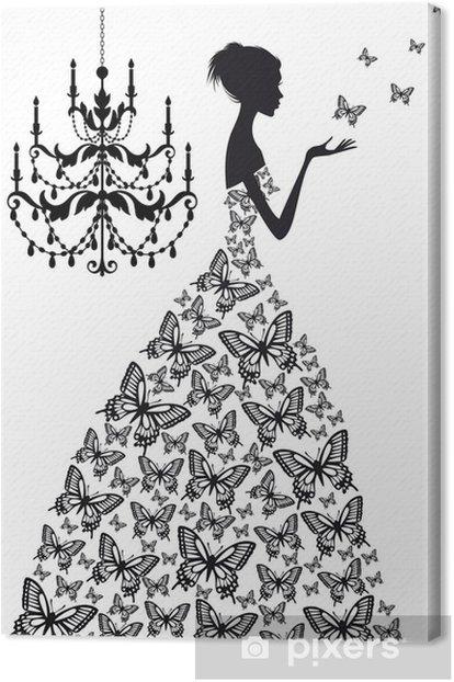 Cuadro en Lienzo Mujer con mariposas, vector - Moda