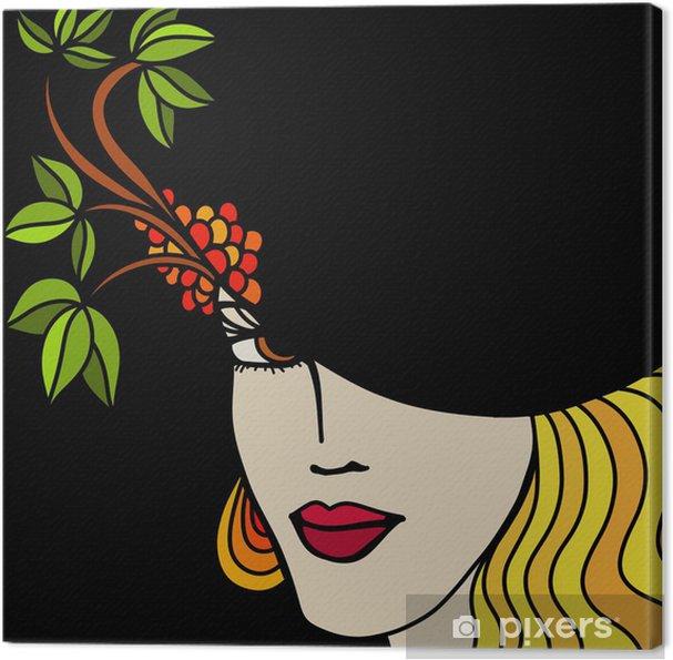 Cuadro en Lienzo Mujer con sombrero sobre un fondo negro • Pixers ... fa56e612a3d