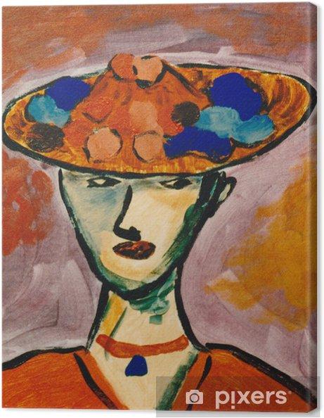 Cuadro en Lienzo Mujer con un sombrero de la flor - Artes y creación 4476140f705