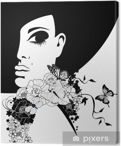 Cuadro en Lienzo Mujer con un sombrero negro con flores y mariposas - Temas 5579dc22788