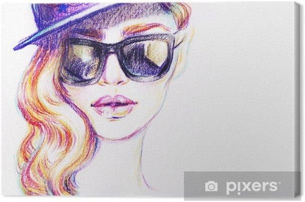 47a8e50bde Cuadro en Lienzo Mujer en gafas de sol. Ilustración de moda. pintura de  acuarela