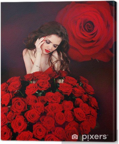 Cuadro En Lienzo Mujer Hermosa Joven Con El Ramo De Rosas Rojas