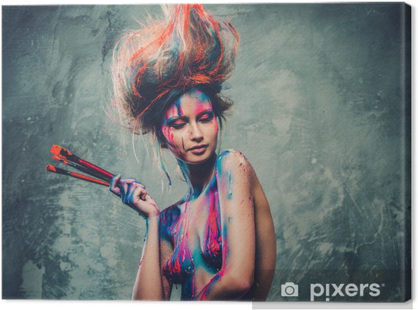 Cuadro En Lienzo Mujer Musa Con El Arte Corporal Creativo Y Peinado