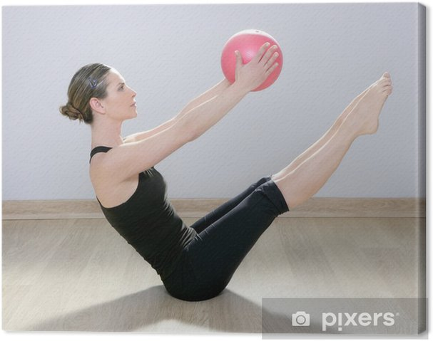 Cuadro en Lienzo Mujer pilates bola de la estabilidad gimnasio de yoga - Salud