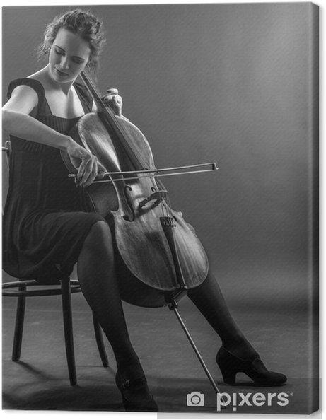 Cuadro en Lienzo Mujer que toca el violonchelo en blanco y negro - Entretenimiento