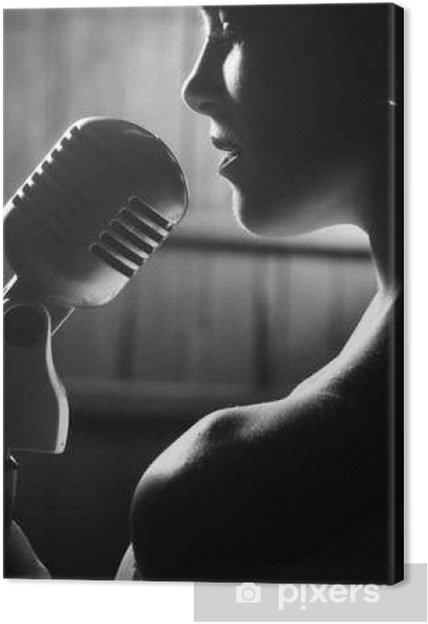 Mujeres-blanco y negro- - Página 14 Cuadros-en-lienzo-mujer-sensual-con-el-microfono