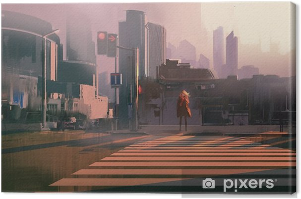 Cuadro en Lienzo Mujer solitaria de pie en el paso de peatones urbano, pintura ilustración - Paisajes