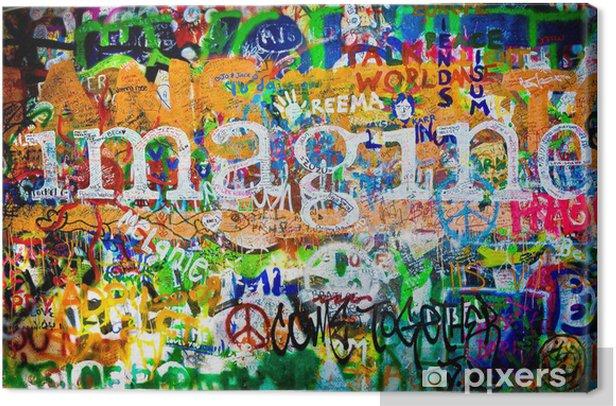 Cuadro en Lienzo Muro de John Lennon (Praga) - Imagine (Toma 1) -
