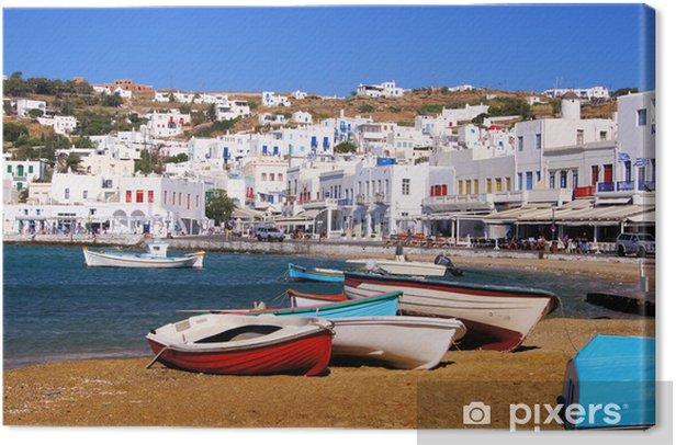 Cuadro en Lienzo Mykonos pueblo, vista del puerto, Grecia - Temas