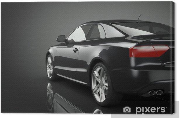 Cuadro en Lienzo Negro del coche deportivo - Por carretera