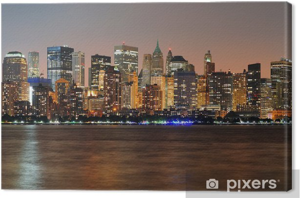 Cuadro en Lienzo New York City Manhattan panorama anochecer - Temas