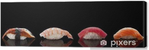 Cuadro en Lienzo Nigiri sushi sobre el fondo negro - Comida