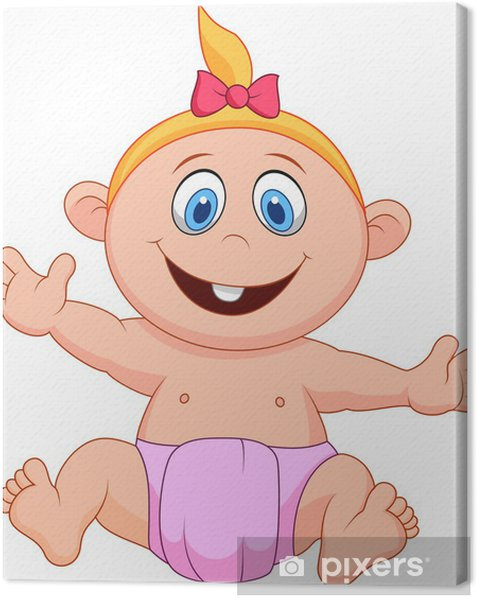 Cuadro en Lienzo Niña de dibujos animados bebé - Niños