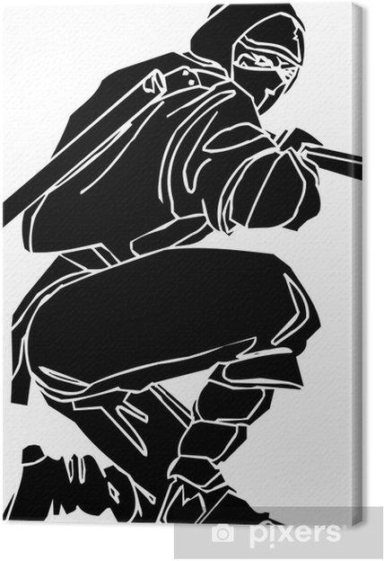 Cuadro en Lienzo Ninja Fighter - ilustración vectorial EPS. Todo el vinilo-listos. - Vinilo para pared