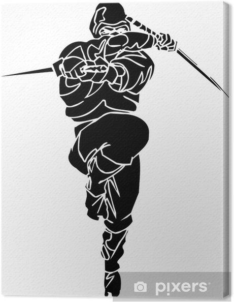 Cuadro en Lienzo Ninja Fighter - ilustración vectorial EPS. Todo el vinilo-listos. - Artes y creación