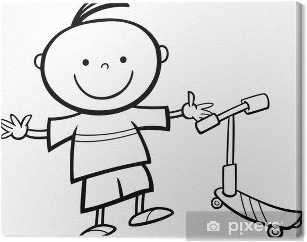 Cuadro En Lienzo Niño Con Scooter De Dibujos Animados Para Colorear
