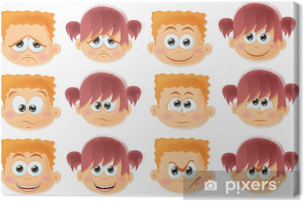 Cuadro En Lienzo Niños Divertidos Dibujos Animados Con Emociones