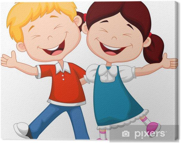 Dibujos Caras De Niños Felices Animadas: Niños Felices De Dibujos Animados De Dibujo A Mano Archivo
