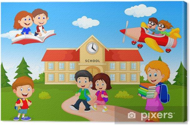 Dibujos Caras De Niños Felices Animadas: Cuadro En Lienzo Niños Felices Escuela De Dibujos