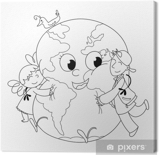Cuadro En Lienzo Niños Felices Que Abrazan La Tierra Para Colorear