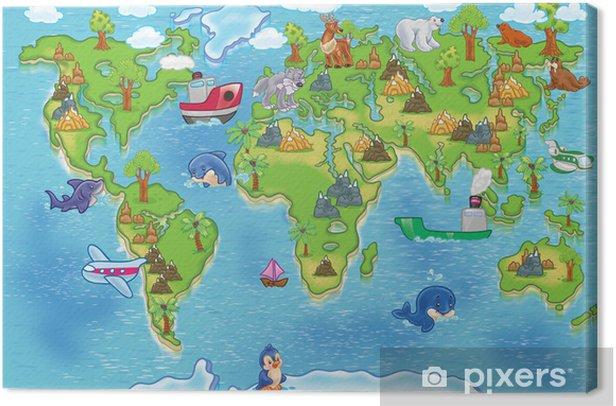 Cuadro en Lienzo Niños mapamundi - iStaging