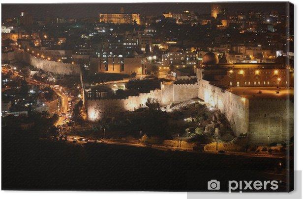 Cuadro en Lienzo Noche en ciudad vieja de Jerusalén, el Monte del Templo con la mezquita de Al-Aqsa, v - Construcciones particulares