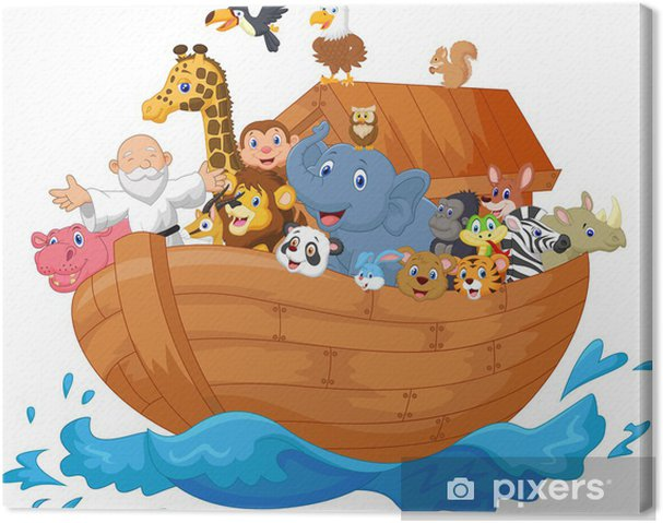 Cuadro En Lienzo Noé Arca De Dibujos Animados